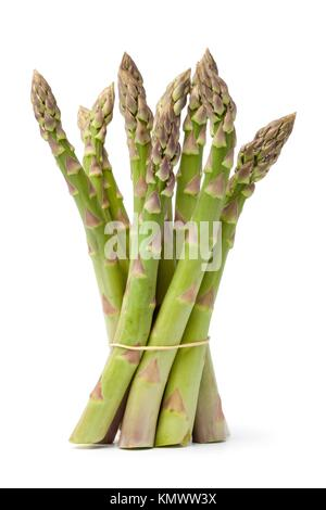 Bundle of fresh green Asparagus isolated on white background - Stock Photo