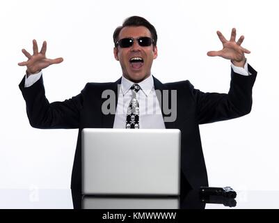 man caucasian hacker computer isolated studio on white background - Stock Photo