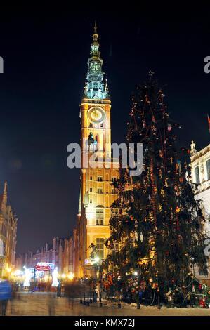 Town Hall of the Main City at night, Gdansk, Pomeranian, Poland, Europe - Stock Photo