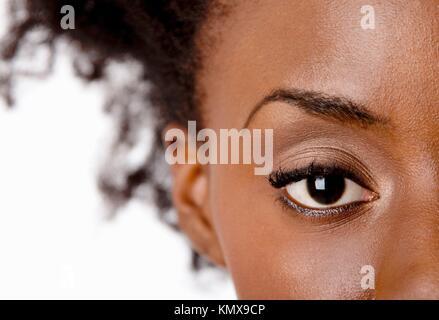 Fashion beautiful African American female brown watchful eye with black eyelashes mascara, isolated - Stock Photo