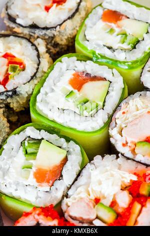 Tasty food. Sushi Roll background. - Stock Photo