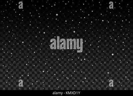 Vector starry sky, snow particles on transparent background. - Stock Photo