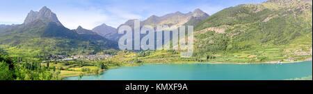 Sallent de Gallego panoramic Lanuza lake view Huesca Spain Pyrenees - Stock Photo
