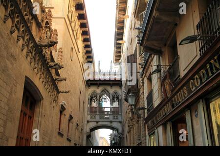 Carrer del Bisbe near cathedral, Gothic quarter, Barcelona, Catalonia, Spain - Stock Photo