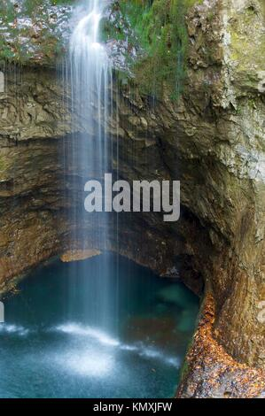 view of a small waterfall in Ordesa Valley, Pyrenees, Huesca, Aragon, Spain