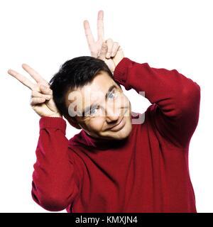 caucasian man gesture studio portrait on isolated white backgound - Stock Photo