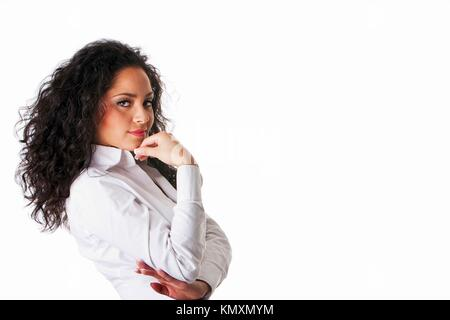 Beautiful Caucasian Hispanic Latina young business woman with brown curly hair  Cute tanned brunette, ethnic girl - Stock Photo
