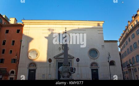 Egyptian Obelisk of Minerva on top of Bernini´s Elephant In Front of Church Rome Italy - Stock Photo
