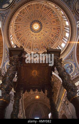 Saint Peter´s Basilica Vatican Inside From Bernini´s bronze baldacchino Looking Up to Michelangelo´s Dome and Ceiling - Stock Photo