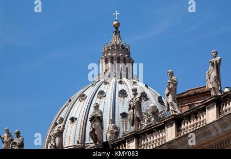 Michelangelo´s Dome With Statues Saint Peter´s Basilica Vatican Rome Italy - Stock Photo