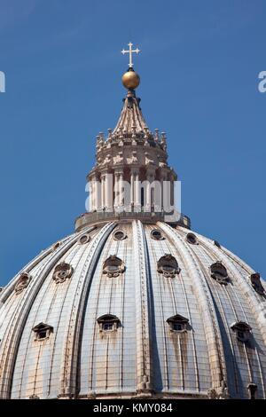 Michelangelo´s Dome Close Up Saint Peter´s Basilica Vatican Rome Italy - Stock Photo