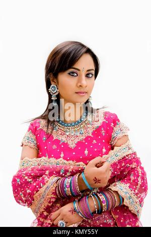 Beautiful Bangali bride in colorful dress, isolated - Stock Photo