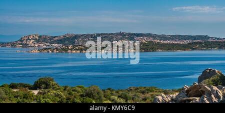 Isola Santo Stefano, Isola Maddalena behind, view from Via Capo d'Orso near Palau, Sassari province, Sardinia, Italy - Stock Photo