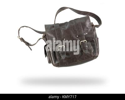 A leather bag isolated against a white background - Stock Photo