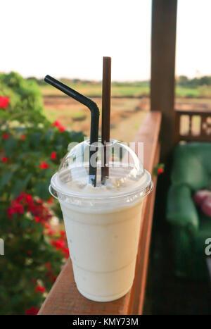 cold drink , milkshake or frappe - Stock Photo