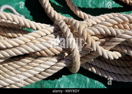 marine clear white used rope over green background - Stock Photo