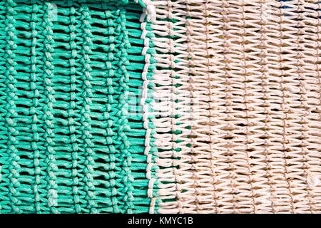 fishing net tackle textures from Mediterranean boats - Stock Photo