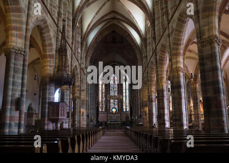 The interior of the gothic St. Peter and St. Paul's Church (French: Église Saints-Pierre-et-Paul) at Wissembourg, - Stock Photo