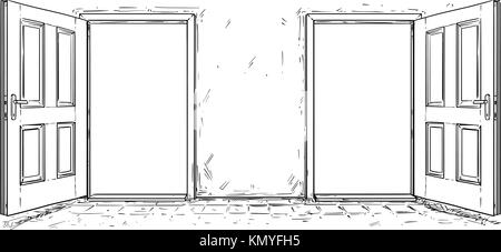 Cartoon vector doodle drawing of two open wooden decision door. Two choices or ways. - Stock Photo