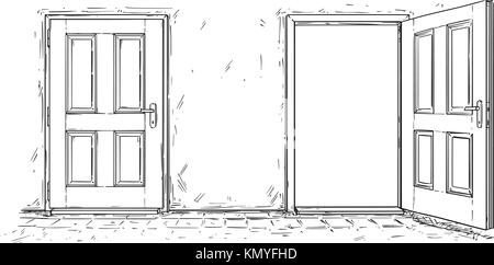 Cartoon vector doodle drawing of two open and close wooden decision door. Two choices or ways. - Stock Photo