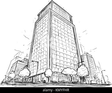 Cartoon vector architectural drawing sketch illustration of city street with high rise building. - Stock Photo