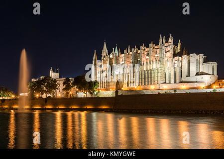 Night view of the Cathedral of Santa Maria of Palma or Catedral de Santa Maria de Palma de Mallorca, Palma, Majorca, - Stock Photo