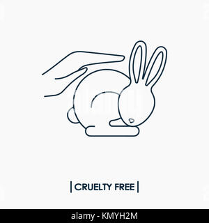 Animal cruelty free logo. Not tested on animals symbol. Rabbit in hands - Stock Photo
