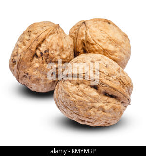 three whole walnuts isolated on white background. clipping path - Stock Photo