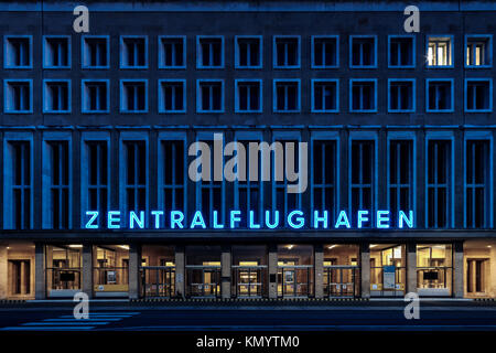 The iconic Tempelhof airport at dusk. - Stock Photo