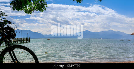 Lake Chiemsee Alps view on a day in summer, Bavaria in Germany - Stock Photo