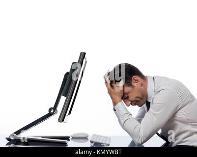 relationship between a caucasian man and a computer display monitor on isolated white background expressing malfunction - Stock Photo