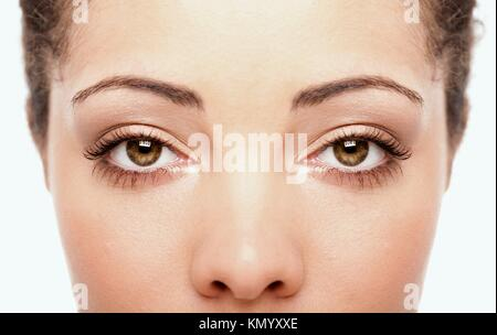 Beautiful female eyes as windows to the soul on face with fair skin, health concept, isolated - Stock Photo