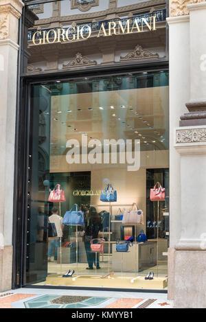 Milan, Italy - August 10, 2017: Giorgio Armani shop window at Vittorio Emanuele II Gallery, Piazza Duomo (Duomo - Stock Photo