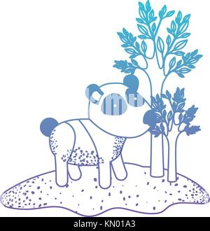 panda cartoon in forest next to the trees in degraded blue to purple color silhouette - Stock Photo