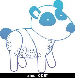 panda cartoon in degraded blue to purple color silhouette - Stock Photo