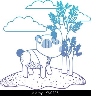 panda cartoon in outdoor scene with trees and clouds in degraded blue to purple color silhouette - Stock Photo