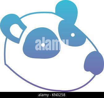 panda cartoon head in degraded blue to purple color silhouette - Stock Photo