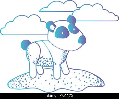 panda cartoon in outdoor scene with clouds in degraded blue to purple color silhouette - Stock Photo