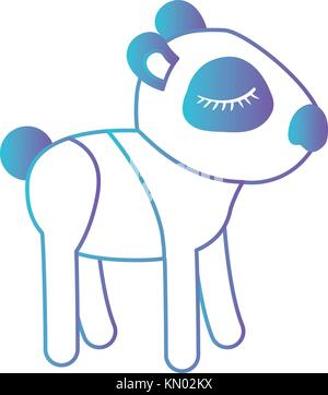 female panda cartoon with closed eyes expression in degraded blue to purple color silhouette - Stock Photo