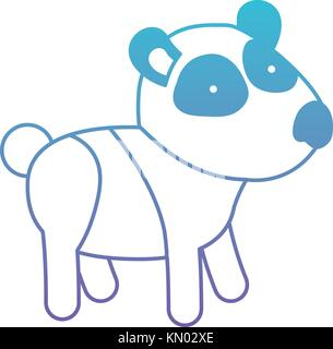 panda cartoon in degraded blue to purple color contour - Stock Photo