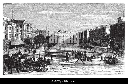 Tahrir Square formerly Mohammed Ali Square and Place des Consuls, in Alexandria, Egypt  Scenic engraving  Old engraved - Stock Photo