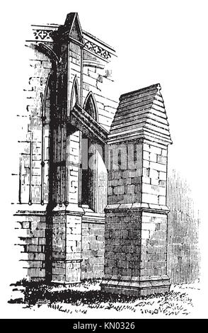 Buttress arch of Lincoln Cathedral chapter, England  Old engraving  Old engraved illustration of a buttres arch - Stock Photo