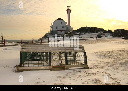 Cape Forchu Lighthouse in Nova Scotia Canada - Stock Photo