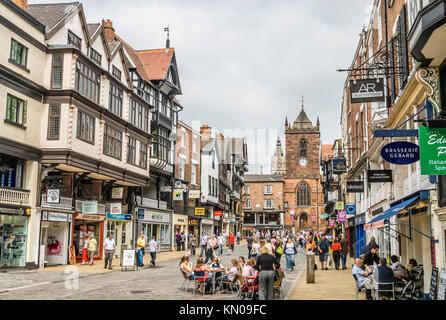 People relaxing in Coffee Shops along Frodsham Street in the historical town centre of Chester , Cheshire, North - Stock Photo