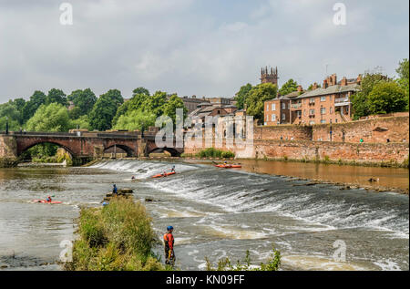 The Chester Weir at the Old Dee Bridge across River Dee in Chester; Cheshire; England - Stock Photo