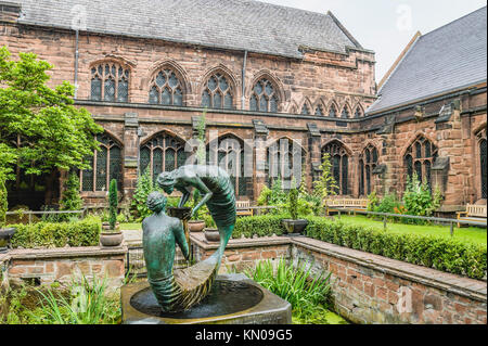 Sculptures at the Garden of Rememberance at in the cloister garth of Chester Cathedral, Cheshire, North West England. - Stock Photo
