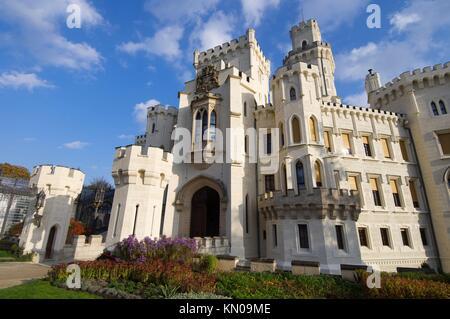 castle neogothic Hluboka nad Vltavou, Czech Republic - Stock Photo