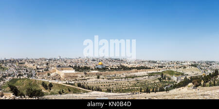Aerial panorama of the Old City of Jerusalem with the golden Dome of The Rock on the Temple Mount - Stock Photo