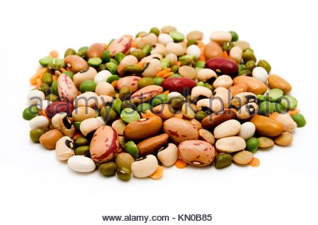 Dried legumes and cereals on a white background - Stock Photo