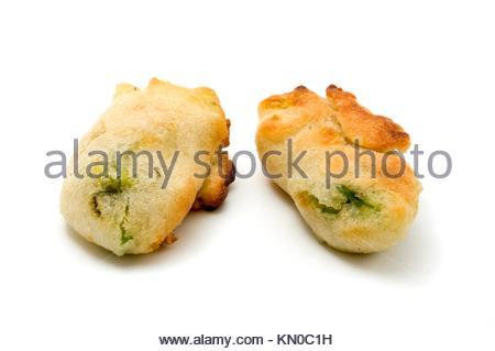Fiori di zucca fried zucchini flowers on a white background - Stock Photo